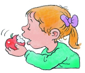 CARTOON GIRL EATING AN APPLE