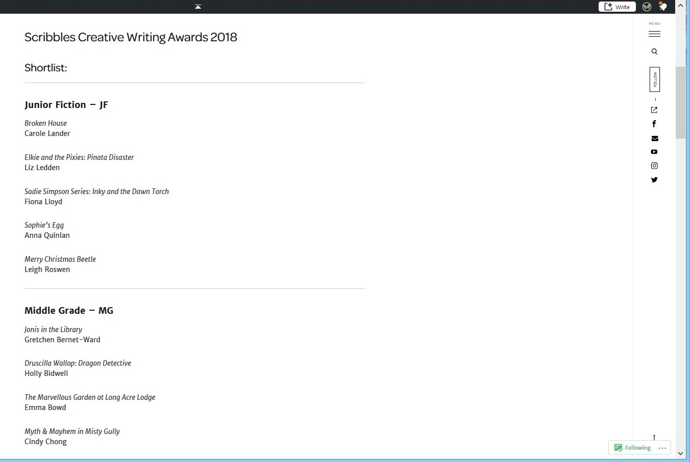 WordPress Scribbles Girl and Duck Awards Shortlist 2018 02
