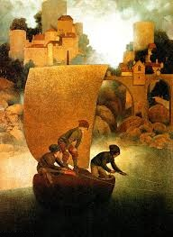 Wynken Blyken and Nodd Artwork by Maxfield Parrish 1905