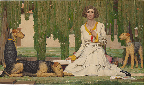 Ipswich Art Gallery Art Deco Lady with Dogs
