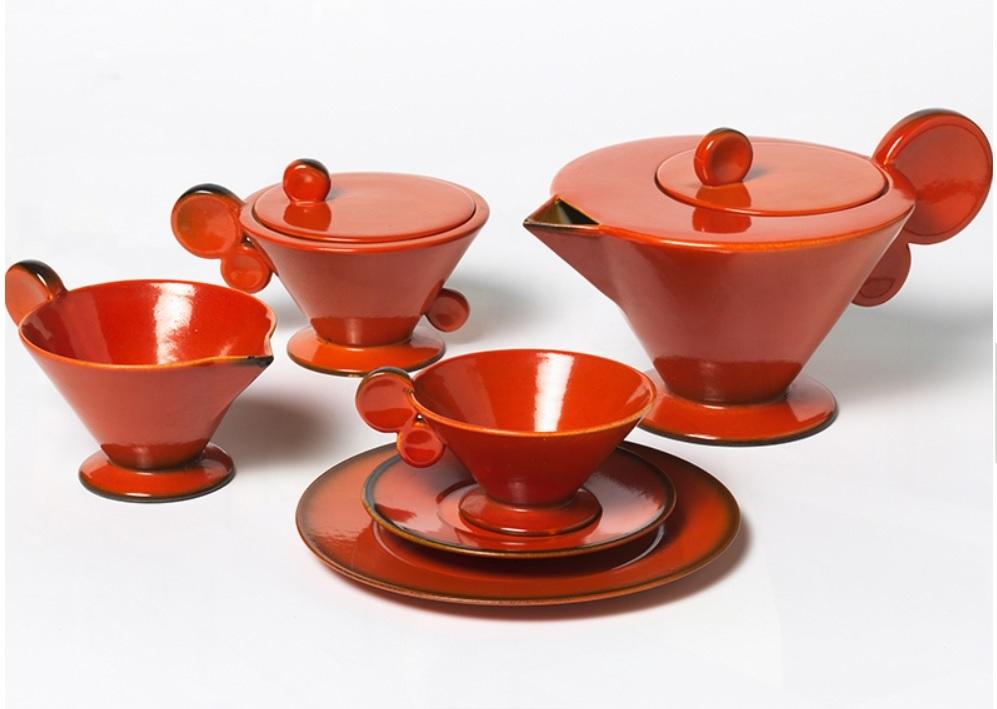Ipswich Art Gallery Art Deco Red Teapot and Teacups