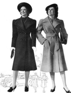 Fashion Women 1940 Two Trench Coats